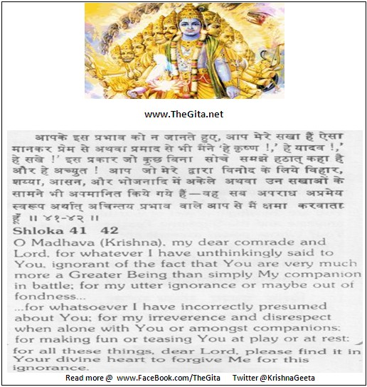 Bhagwad Geeta 11-41-42-Hindi And English- TheGita.net