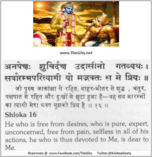 The Gita – Chapter 12 – Shloka 16