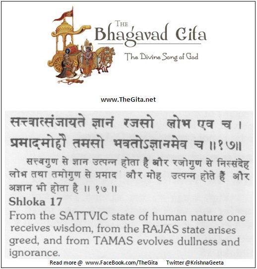 The Gita – Chapter 14 – Shloka 17