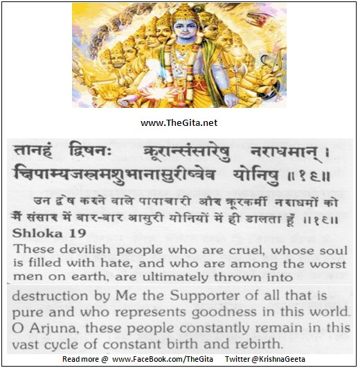 The Gita – Chapter 16 – Shloka 19