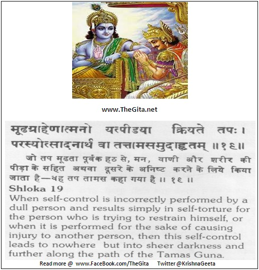 The Gita – Chapter 17 – Shloka 19