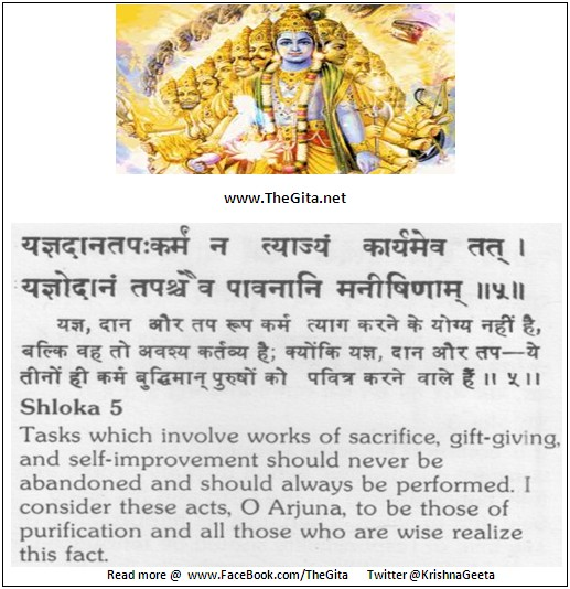 The Gita – Chapter 18 – Shloka 05