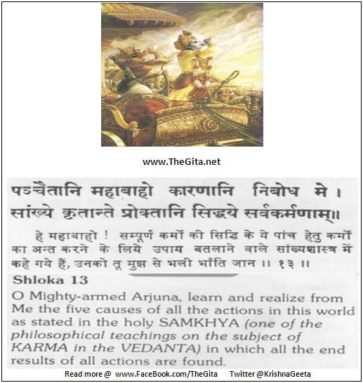 The Gita – Chapter 18 – Shloka 13