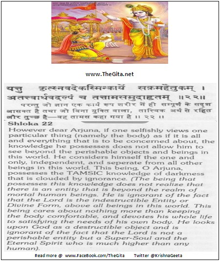 The Gita – Chapter 18 – Shloka 22