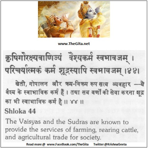 The Gita – Chapter 18 – Shloka 44